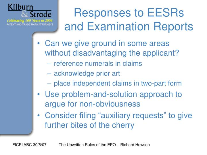 Responses to EESRs and Examination Reports