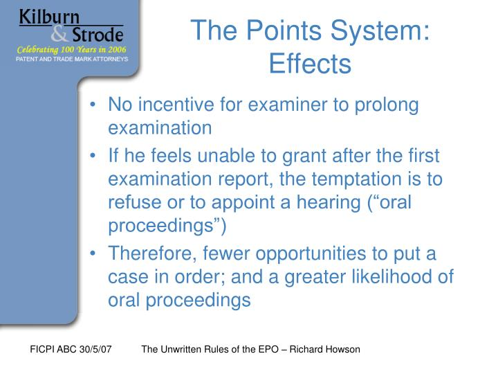 The Points System: Effects