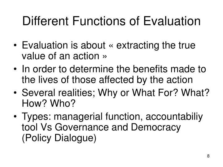 Different Functions of Evaluation