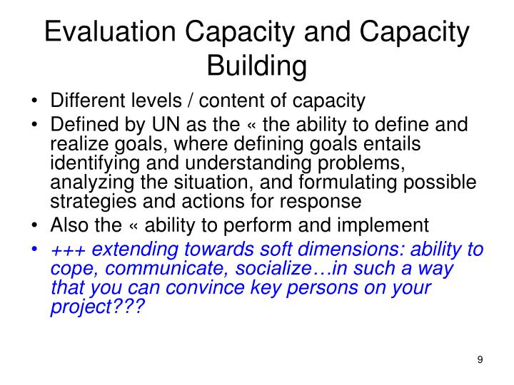 Evaluation Capacity and Capacity Building