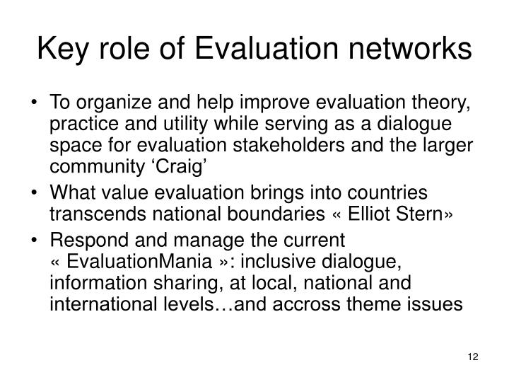 Key role of Evaluation networks