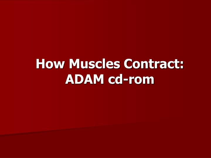 How Muscles Contract:  ADAM cd-rom