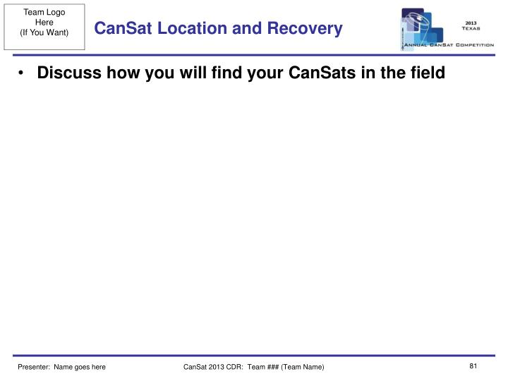 CanSat Location and Recovery