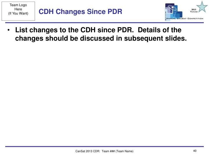 CDH Changes Since PDR