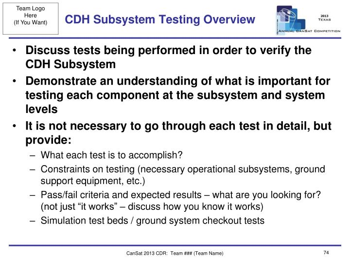 CDH Subsystem Testing Overview