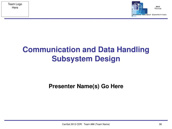 Communication and Data Handling Subsystem Design