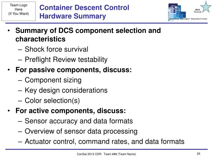 Container Descent Control Hardware Summary