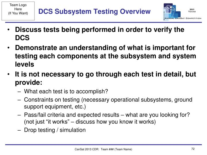 DCS Subsystem Testing Overview