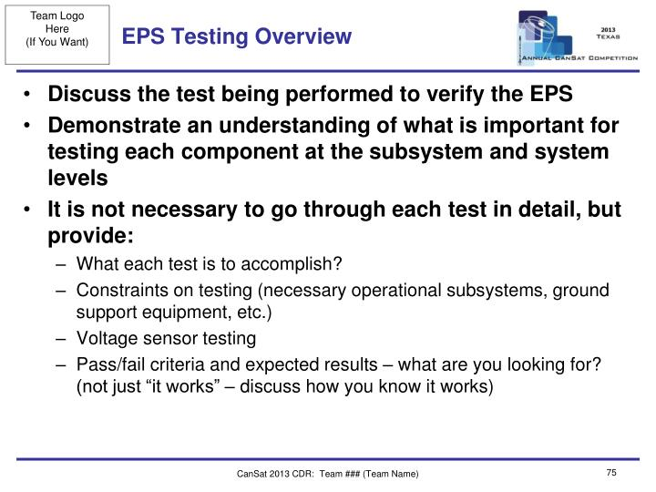 EPS Testing Overview