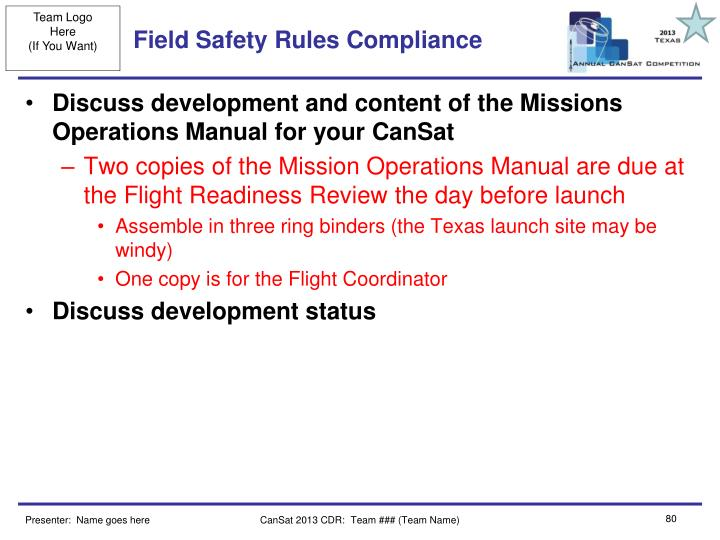 Field Safety Rules Compliance