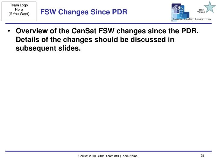 FSW Changes Since PDR