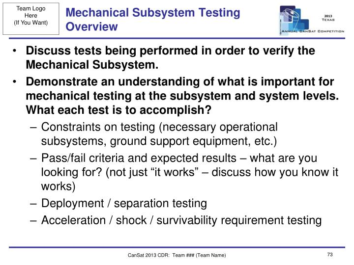 Mechanical Subsystem Testing Overview
