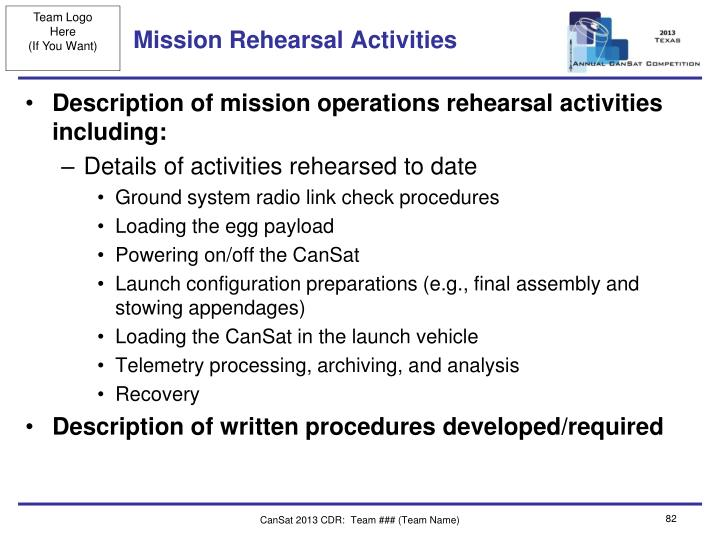 Mission Rehearsal Activities