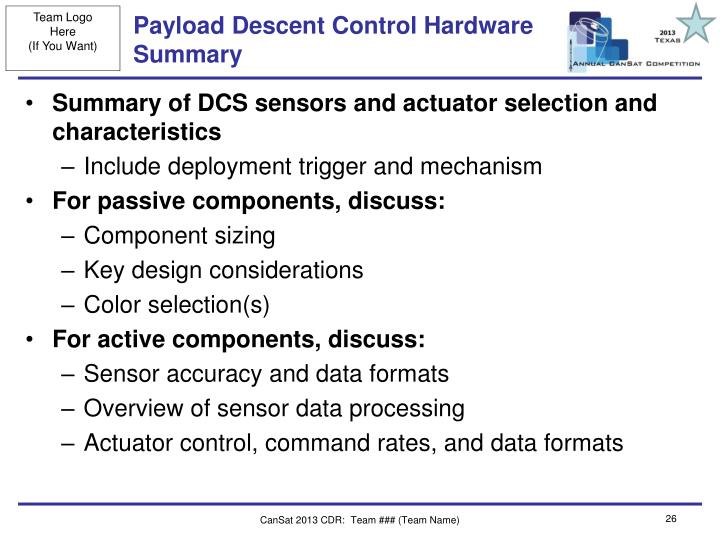 Payload Descent Control Hardware Summary