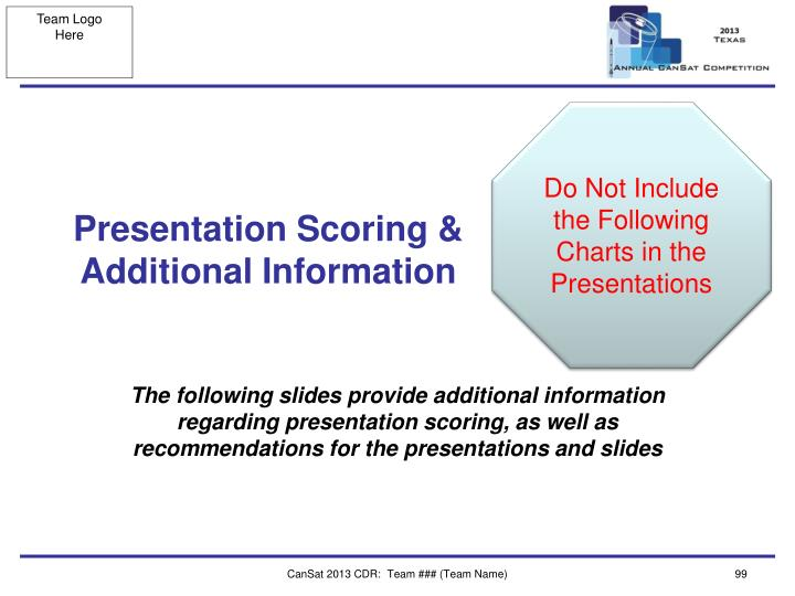 Do Not Include the Following Charts in the Presentations