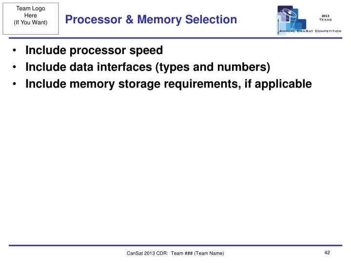 Processor & Memory Selection