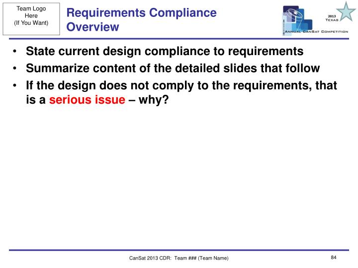 Requirements Compliance Overview