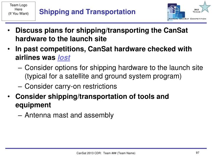 Shipping and Transportation