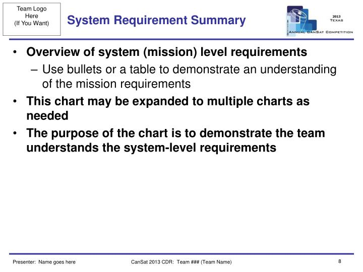 System Requirement Summary