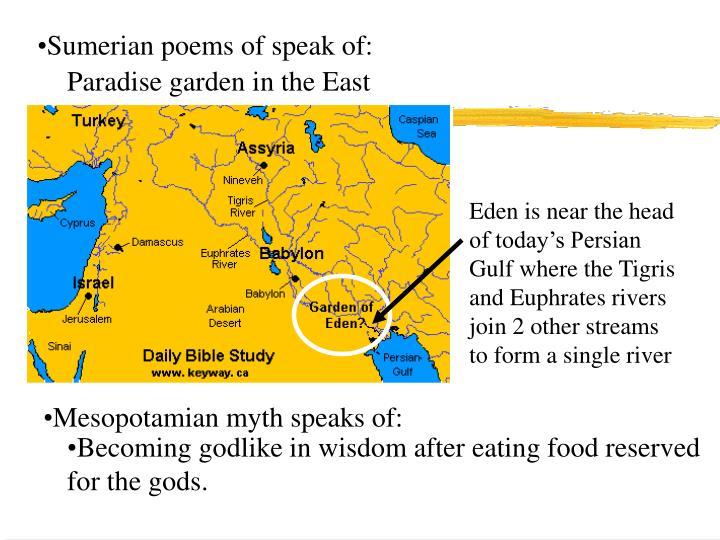 Sumerian poems of speak of: