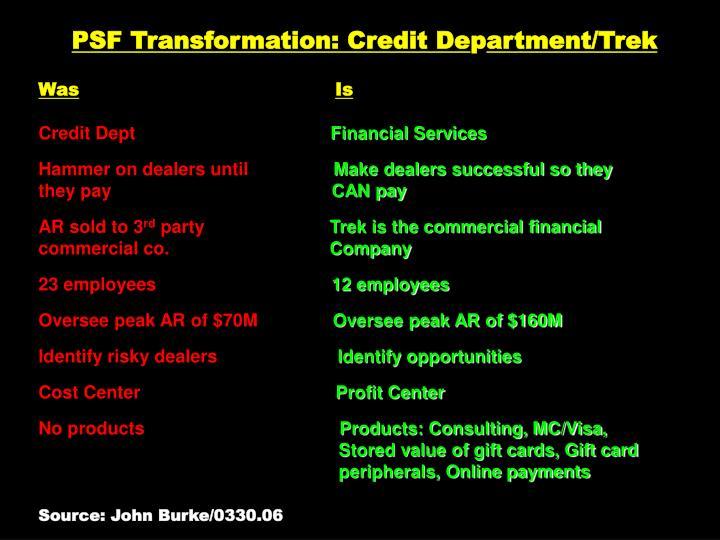PSF Transformation: Credit De