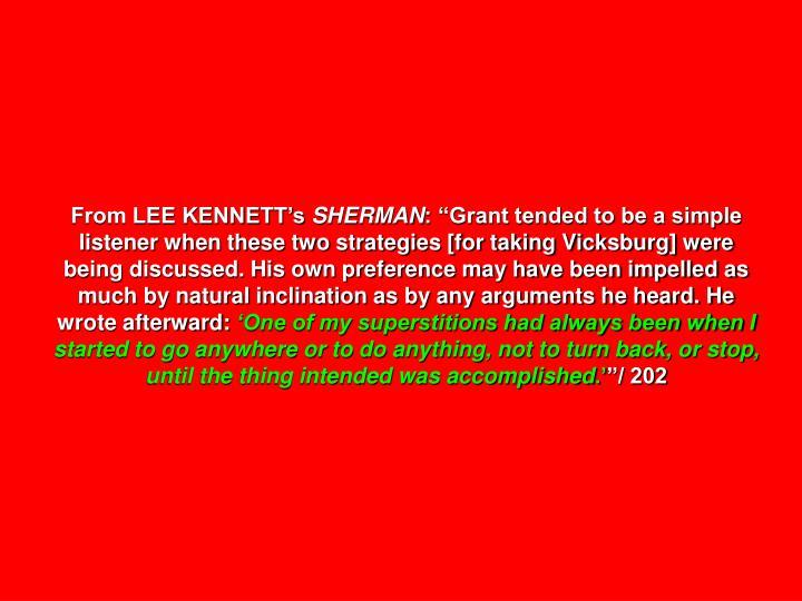 From LEE KENNETT's