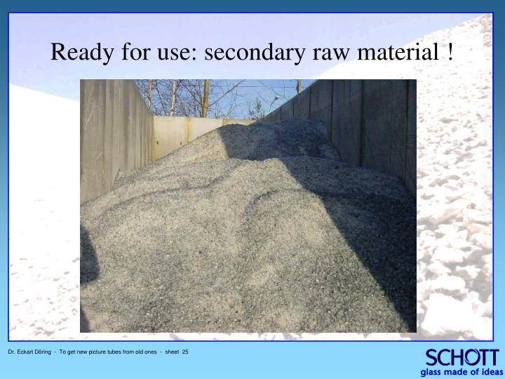 Ready for use: secondary raw material !