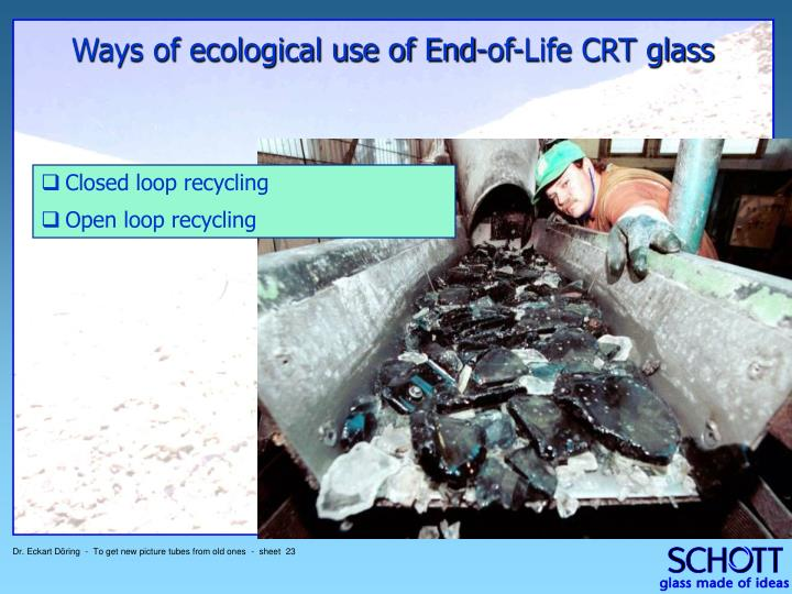 Ways of ecological use of End-of-Life CRT glass