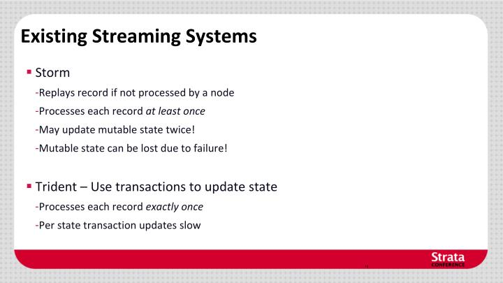 Existing Streaming Systems