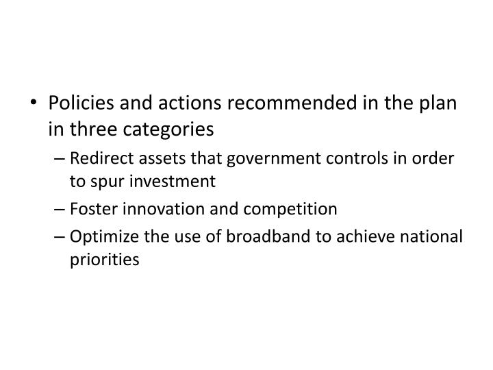 Policies and actions recommended in the plan in three categories