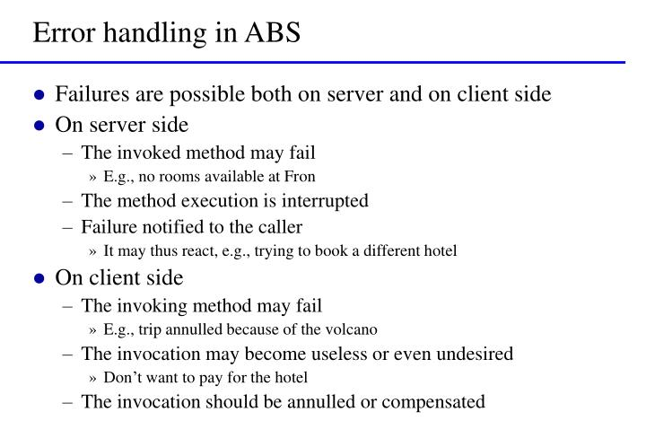 Error handling in ABS