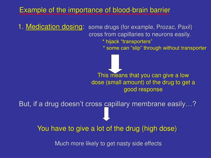 Example of the importance of blood-brain barrier