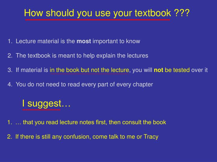 How should you use your textbook ???