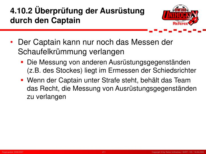 4.10.2 Überprüfung der Ausrüstung durch den Captain