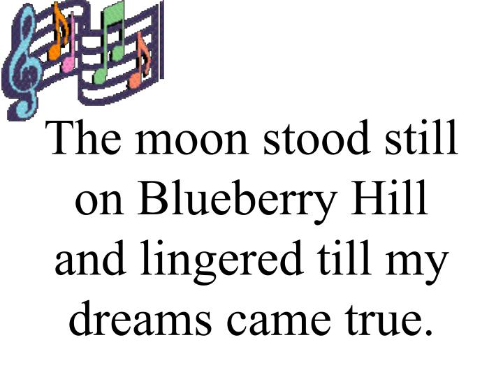 The moon stood still on blueberry hill and lingered till my dreams came true
