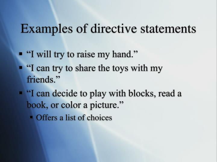 Examples of directive statements