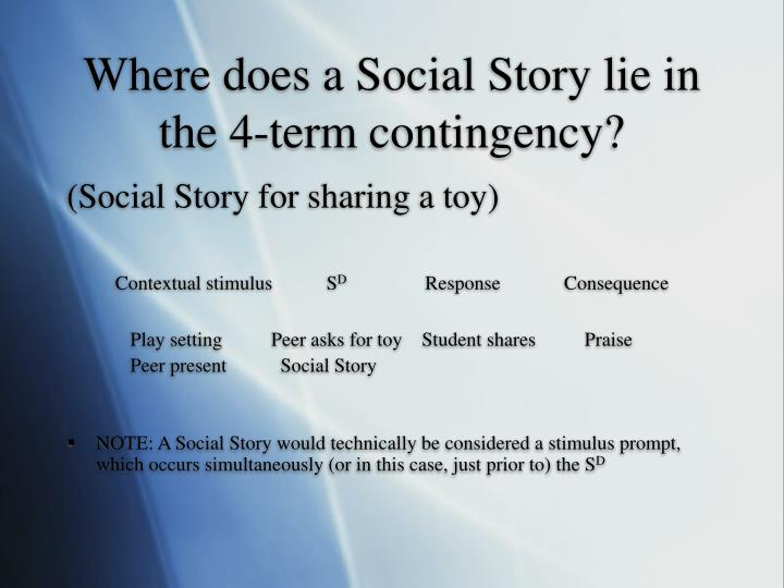 Where does a Social Story lie in the 4-term contingency?