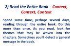 2 read the entire book context context context