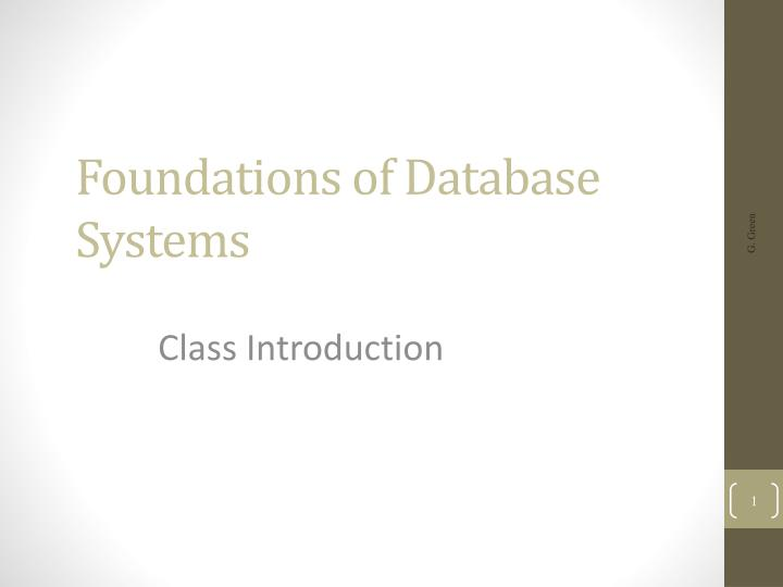 foundations of database systems n.
