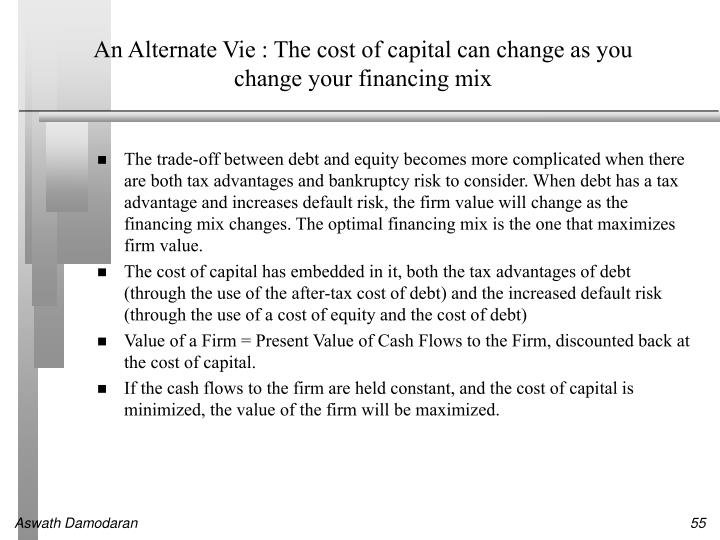 An Alternate Vie : The cost of capital can change as you change your financing mix