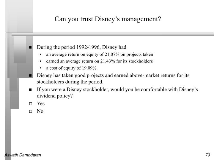 Can you trust Disney's management?