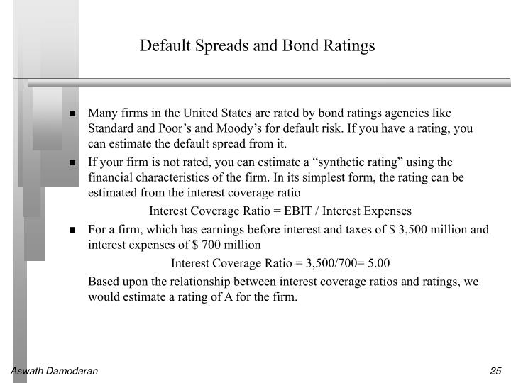 Default Spreads and Bond Ratings