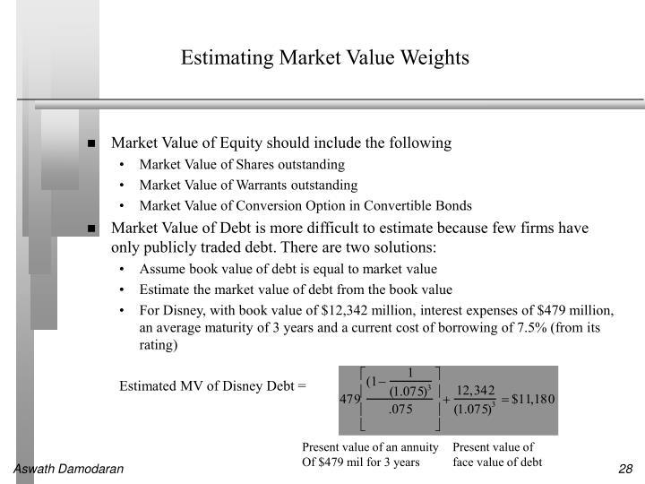 Estimating Market Value Weights