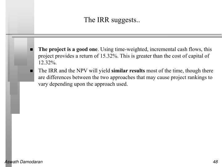The IRR suggests..