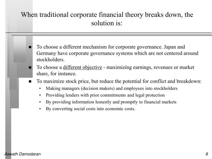When traditional corporate financial theory breaks down, the solution is: