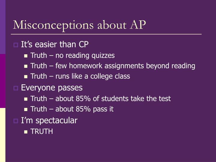 Misconceptions about AP