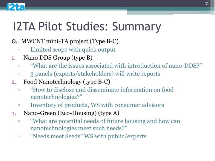 I2TA Pilot Studies: Summary