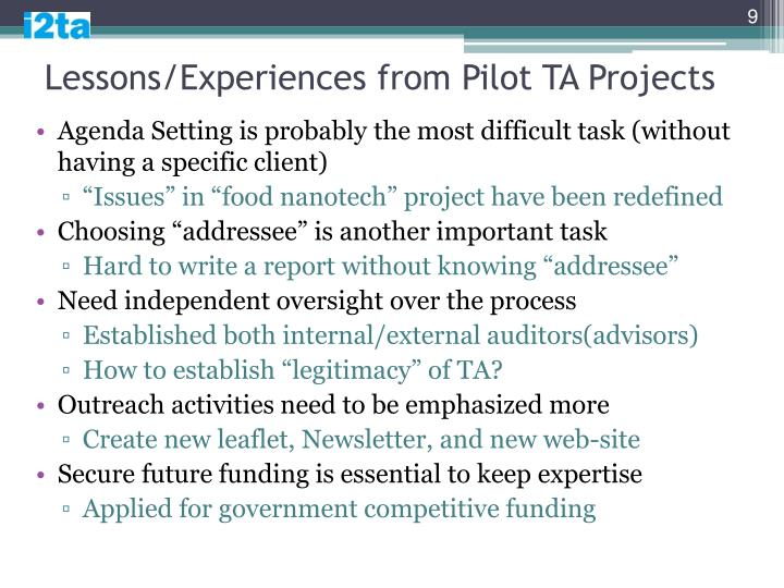 Lessons/Experiences from Pilot TA Projects