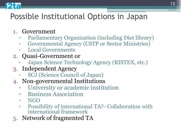 Possible Institutional Options in Japan