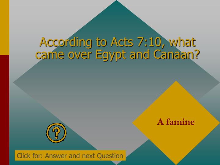 According to Acts 7:10, what came over Egypt and Canaan?